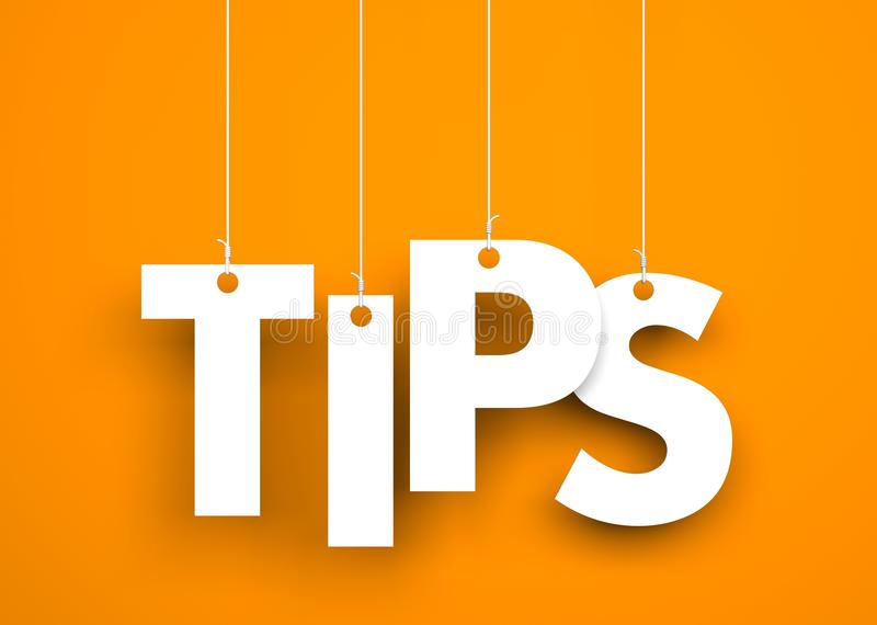 Tips - word hanging on rope vector illustration