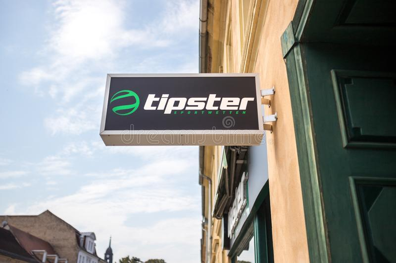 Tipster sign in neuruppin germany. Neuruppin, brandenburg/germany - 27 08 19: tipster sign in neuruppin germany stock image