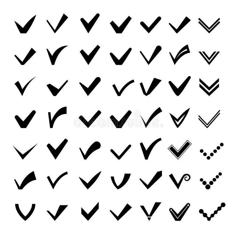 Tiquetaques ou ícones das marcas de verificação ilustração do vetor