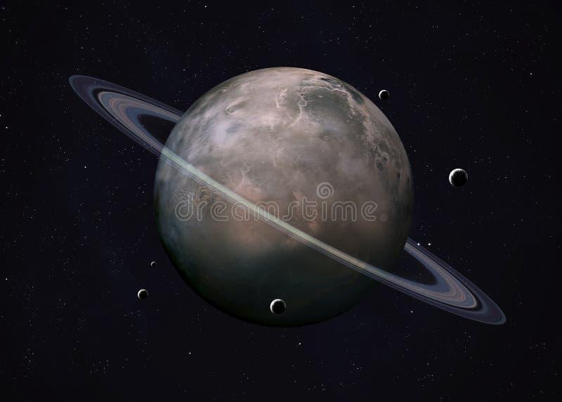 Tiré d'Uranus pris de l'espace ouvert collage photographie stock