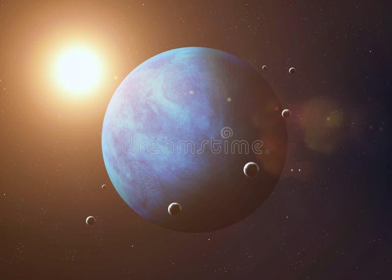 Tiré de Neptune pris de l'espace ouvert collage photos stock