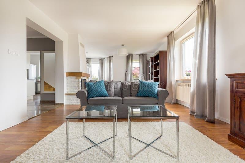 Tiré du salon élégant avec le sofa confortable photos stock