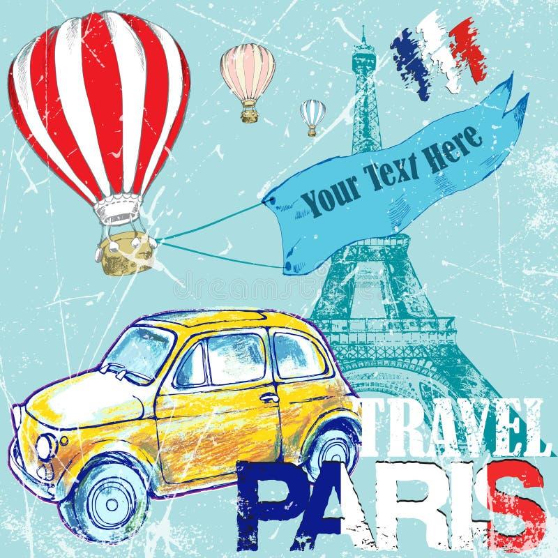 Tiré par la main, colorez la voiture jaune drôle de l'IL de  de penÑ, voyage vers Paris, ballon d'air illustration libre de droits