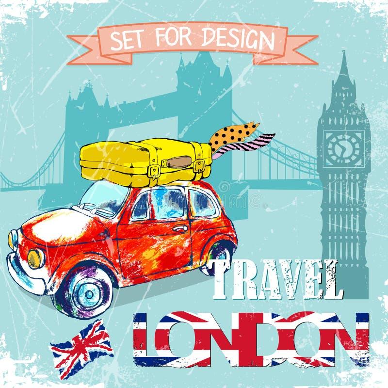 Tiré par la main, colorez la voiture rouge drôle de l'IL de  de penÑ, voyage vers Londres Illustration de vecteur illustration stock