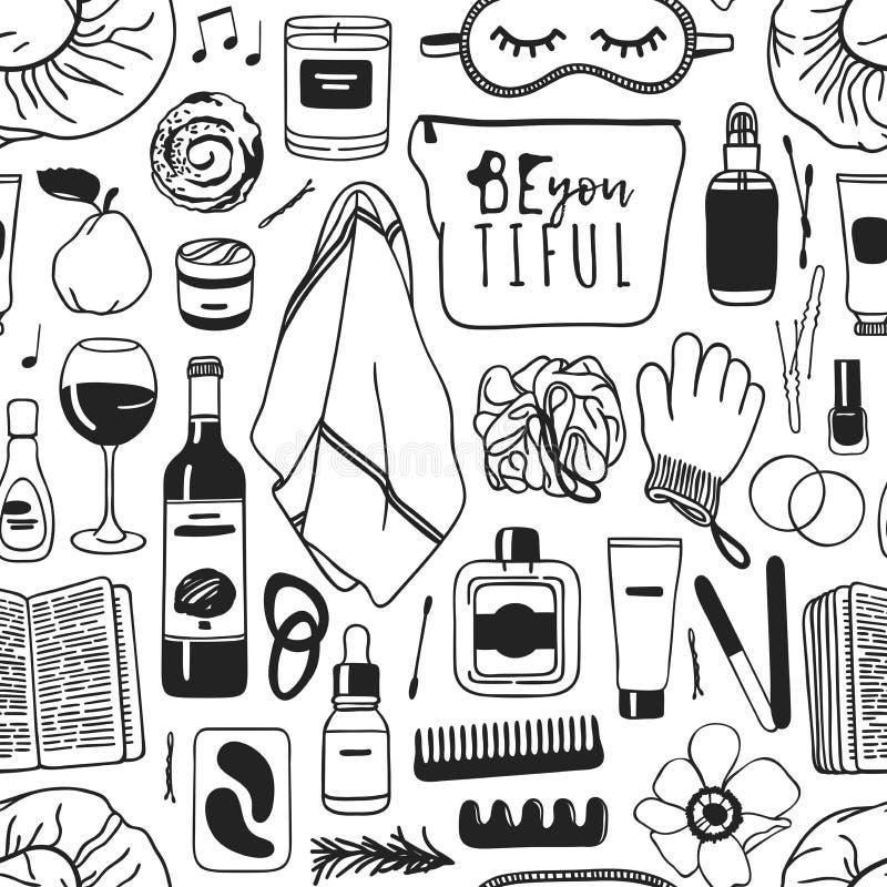 Tiré par la main détendez le modèle sans couture Fond réel de dessin de vecteur avec des produits de beauté, vin, nourriture, liv illustration stock