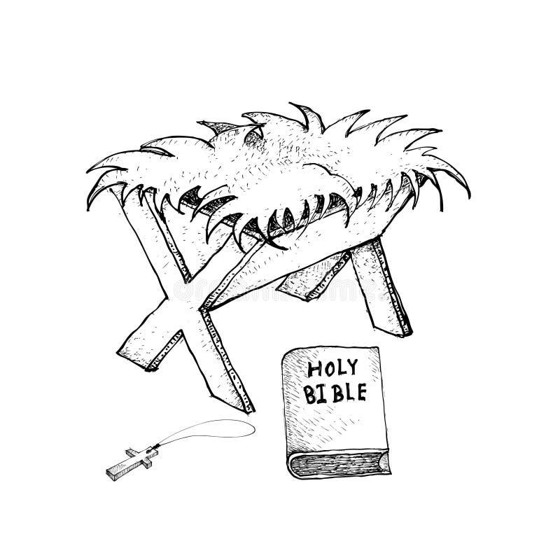 Tiré par la main de Manger avec la bible et la croix en bois illustration libre de droits