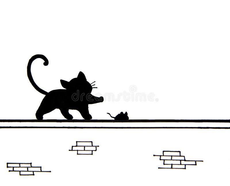Tiré par la main du chat noir mignon et d'une souris sur le mur - endroit pour le texte illustration libre de droits