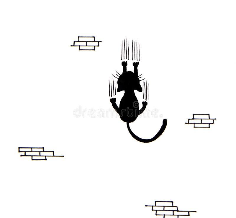 Tiré par la main du chat noir rayant le mur illustration stock