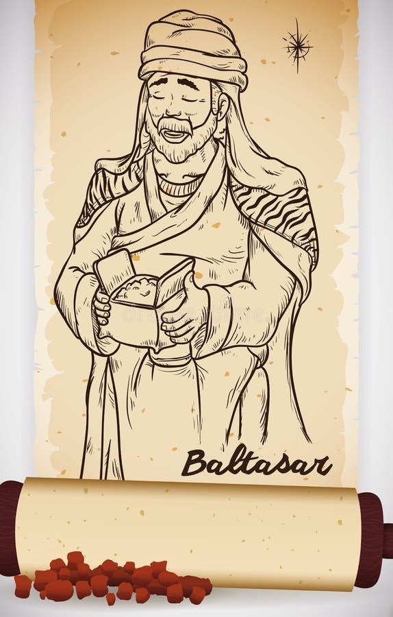 Tiré par la main du sage dans le rouleau avec de la myrrhe : Balthazar, illustration de vecteur illustration stock