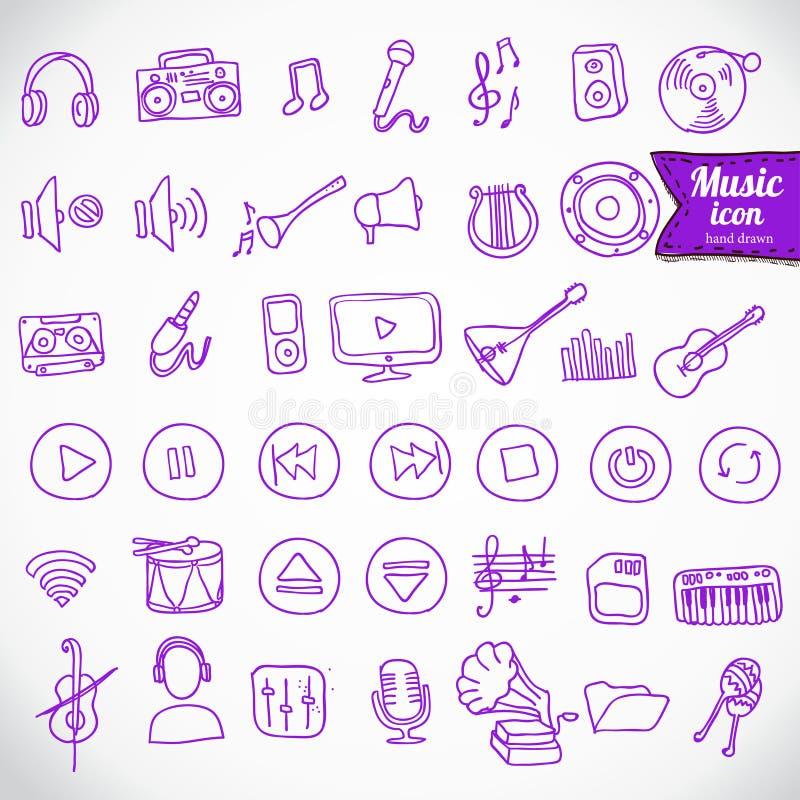 Tiré par la main, ensemble d'icône de musique de griffonnage illustration stock