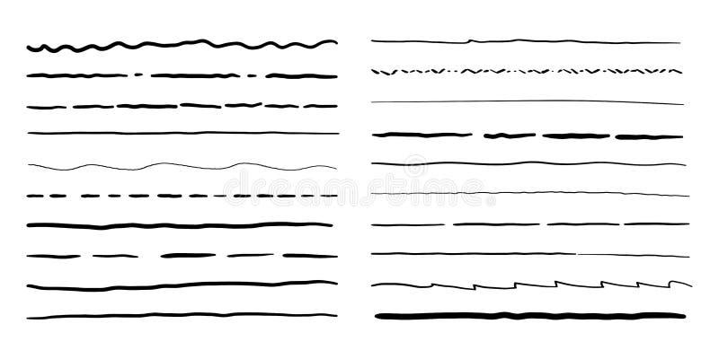 Tiré par la main ensemble griffonnage de vecteur de séparateurs de lignes illustration stock