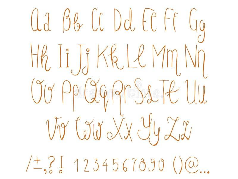 Tiré par la main a esquissé les lettres supérieures et minuscules et les nombres réglés sur le tableau Police comique de griffonn illustration stock