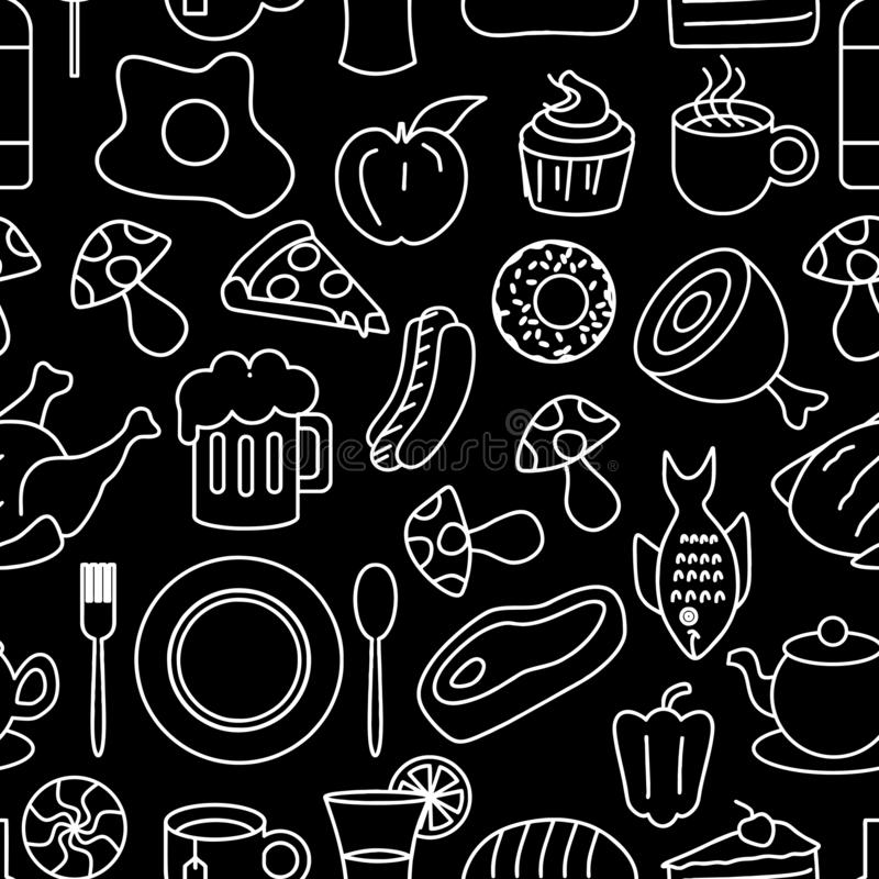 Tiré par la main illustration griffonnage sans couture de modèle de dessin de repas de vecteur de schéma de nourriture et de bois illustration libre de droits