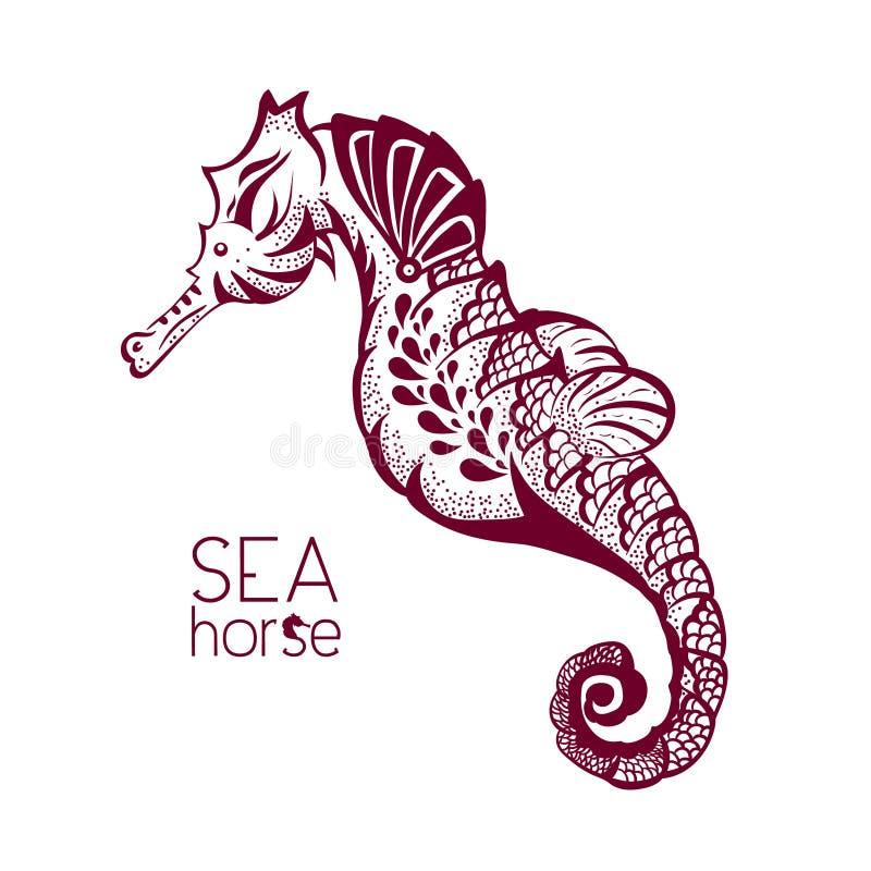 tir par la main le tatouage a stylis l 39 hippocampe zentangle de croquis d 39 esp ce marine. Black Bedroom Furniture Sets. Home Design Ideas