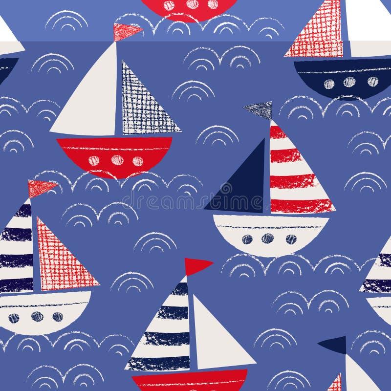 Tiré par la main lunatique avec des bateaux de crayons dans le modèle sans couture de vecteur de mer Marine Background nautique m illustration de vecteur