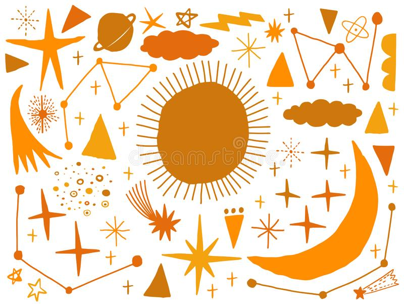 Tiré par la main naïf de croquis d'ensemble de vecteur avec l'espace, étoile, nuage, le soleil, lune, comète Gribouillez le type  illustration libre de droits