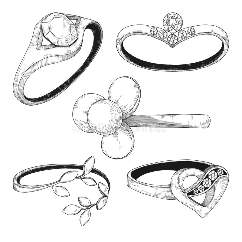 Tiré par la main un ensemble de différents anneaux de bijoux Illustration de vecteur illustration libre de droits