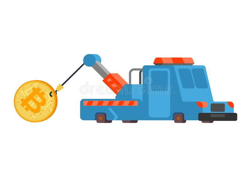 Tirón de levantamiento de la grúa del precio de Bitcoin Aumento de precios de Cryptocurrency Concepto del negocio en intercambio  stock de ilustración