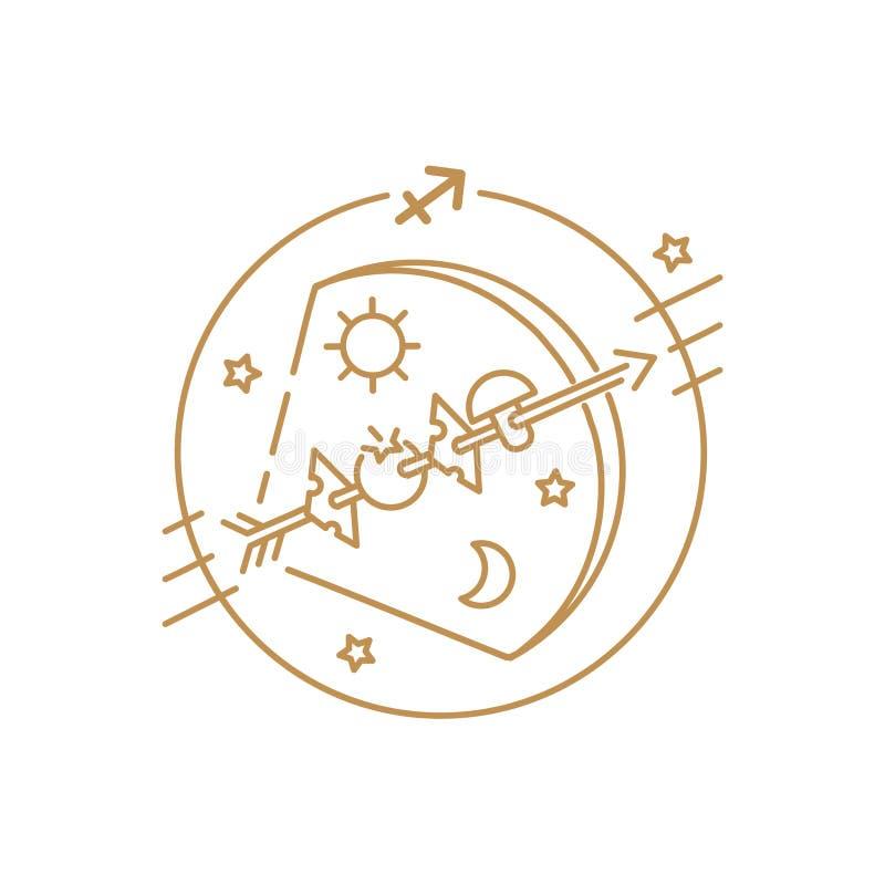 Tir à l'arc de vecteur ou signe de zodiaque de Sagittaire, logo, tatouage ou illustration illustration de vecteur