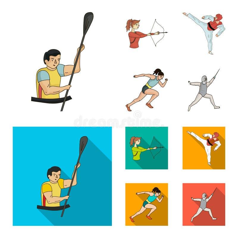 Tir à l'arc, karaté, fonctionnement, clôturant Icônes réglées de collection de sport olympique dans la bande dessinée, actions pl illustration stock