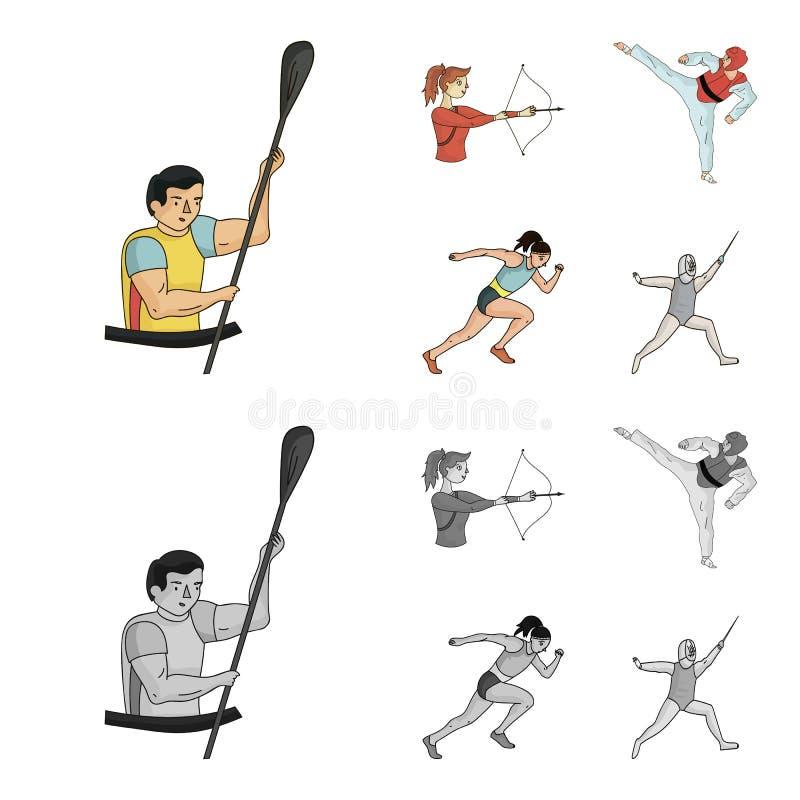 Tir à l'arc, karaté, fonctionnement, clôturant Icônes réglées de collection de sport olympique dans la bande dessinée, actions mo illustration stock