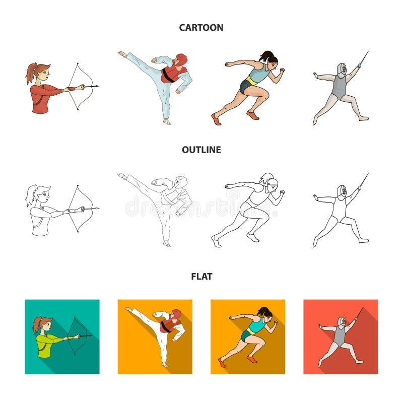Tir à l'arc, karaté, fonctionnement, clôturant Icônes réglées de collection de sport olympique dans la bande dessinée, contour, a illustration de vecteur