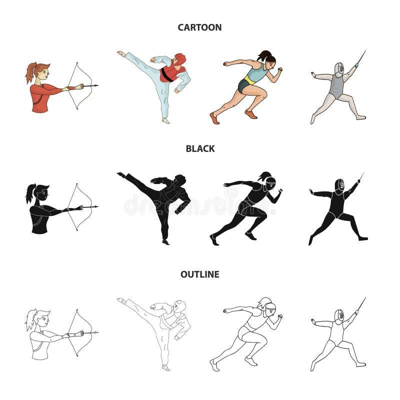 Tir à l'arc, karaté, fonctionnement, clôturant Icônes réglées de collection de sport olympique dans la bande dessinée, noir, acti illustration libre de droits