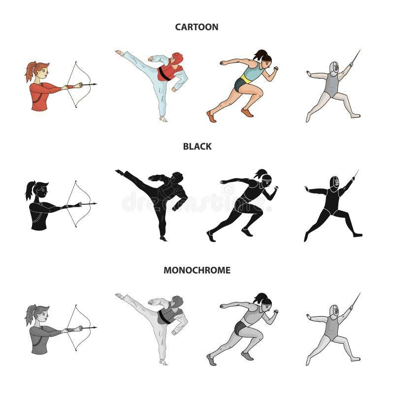 Tir à l'arc, karaté, fonctionnement, clôturant Icônes réglées de collection de sport olympique dans la bande dessinée, noir, symb illustration de vecteur