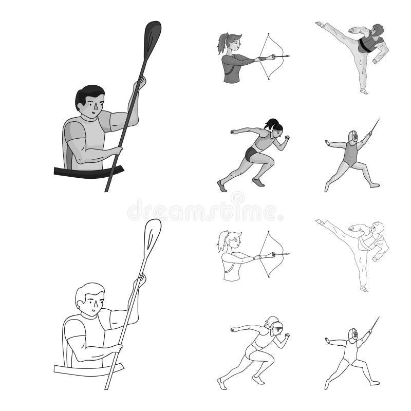 Tir à l'arc, karaté, fonctionnement, clôturant Icônes réglées de collection de sport olympique dans le contour, actions monochrom illustration de vecteur