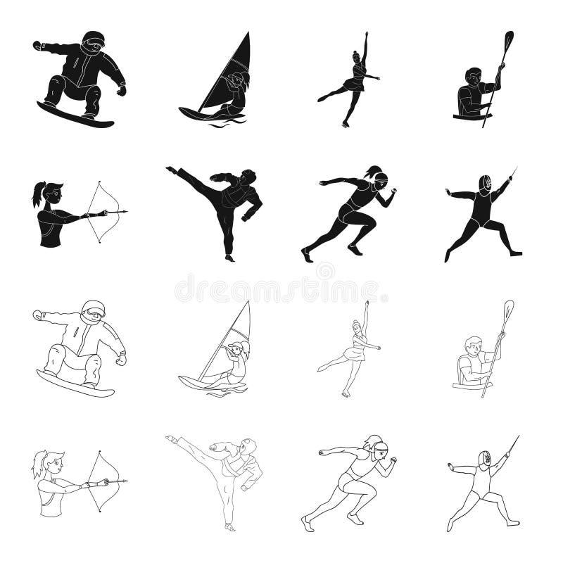Tir à l'arc, karaté, fonctionnement, clôturant Icônes réglées de collection de sport olympique dans le noir, actions de symbole d illustration de vecteur