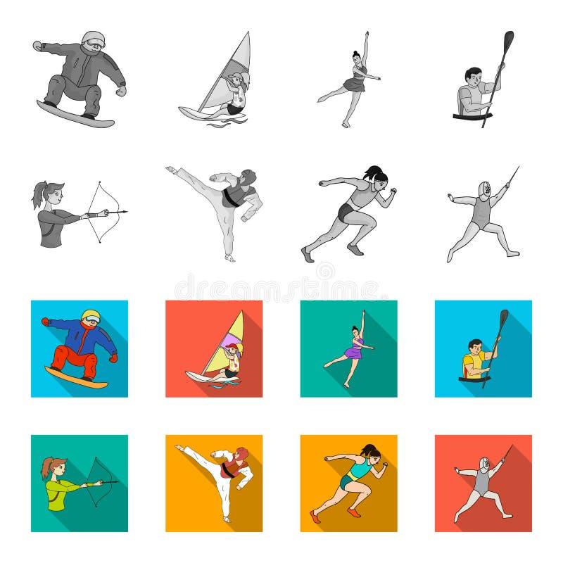 Tir à l'arc, karaté, fonctionnement, clôturant Icônes réglées de collection de sport olympique en stock monochrome et plat de sym illustration de vecteur