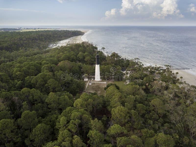 Tir aérien de chasser le phare d'île en Caroline du Sud photos stock