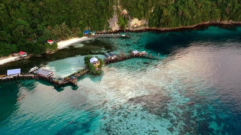 Tir aérien des maisons sur le rivage avec de l'eau clair comme de l'eau de roche banque de vidéos