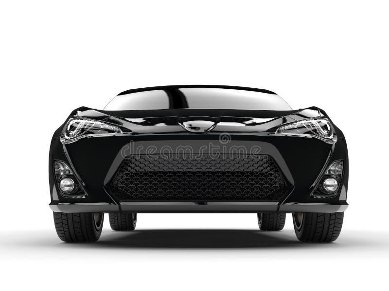Tir automobile d'angle faible de vue de face de sports noirs génériques illustration stock