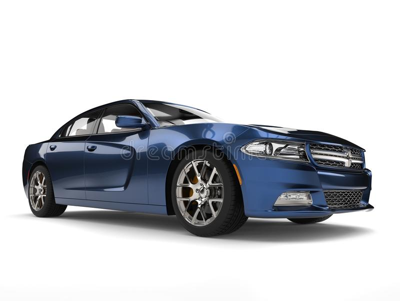 Tir automobile rapide moderne bleu métallique foncé frais de beauté illustration stock