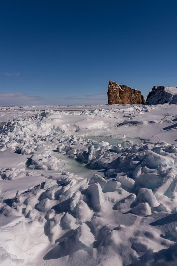 Tir d'hiver de Perce Rock majestueux image stock