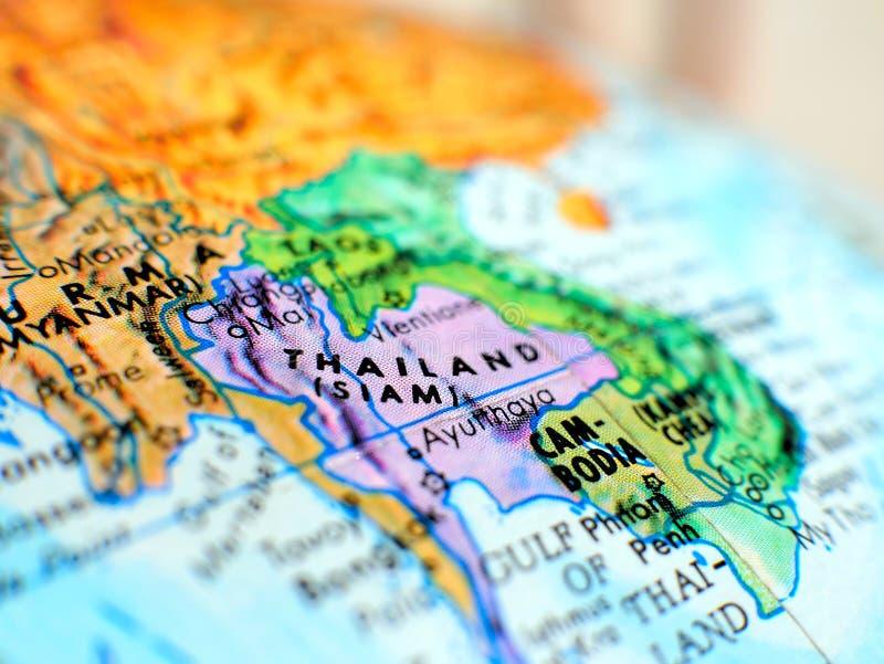 Tir de foyer de la Thaïlande Asie macro sur la carte de globe pour des blogs de voyage, le media social, des bannières de site We photos stock