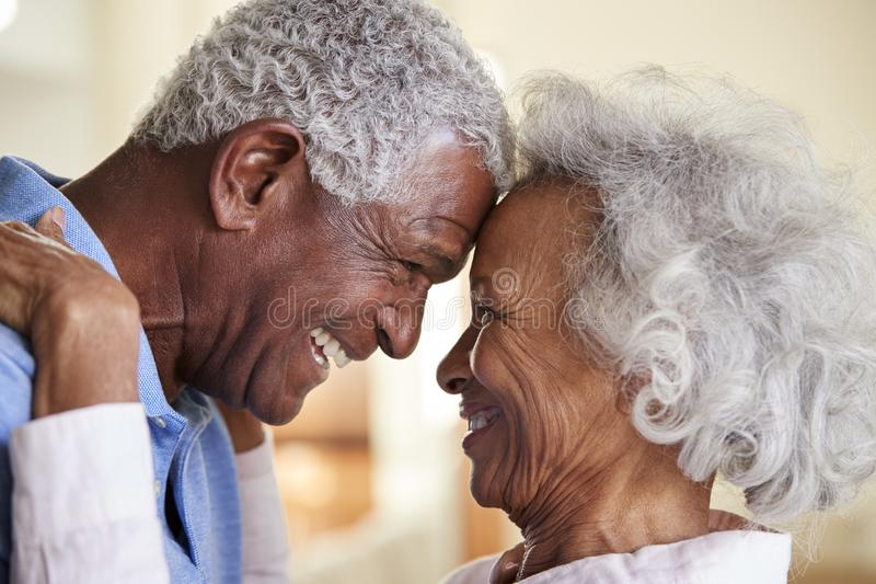 Tir de profil aimant les couples supérieurs tête à tête à la maison ensemble photographie stock libre de droits