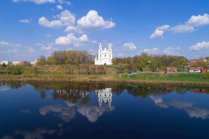 Tir de St Sophia Cathedral d'un quadrocopter Polotsk, Belarus image libre de droits