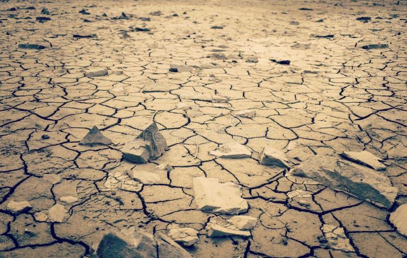Tir dramatique de désert de désert de Mohave de terre en friche criquée sèche de la terre images stock
