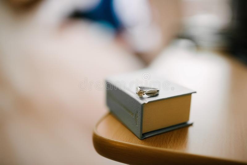 Tir en gros plan d'anneaux de mariage macro Anneaux des jeunes mari?s photographie stock