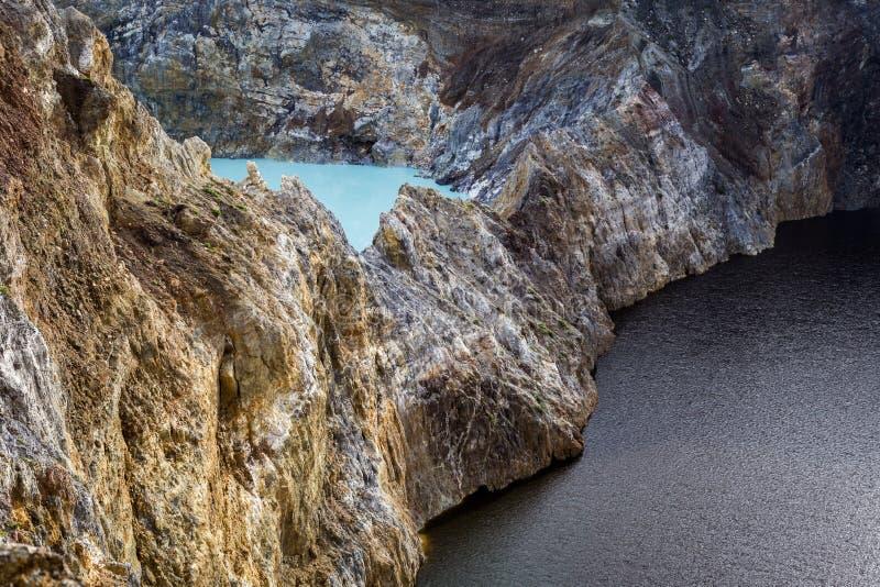 Tir en gros plan des lacs de cratère de Kelimutu image libre de droits