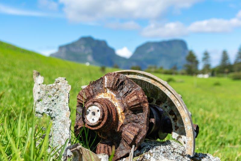 Tir en gros plan des restes du vieil avion consolid? de PBY Catalina qui s'est ?cras? sur Lord Howe Island photographie stock libre de droits