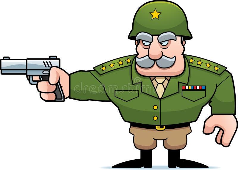 Tir général militaire de bande dessinée illustration de vecteur