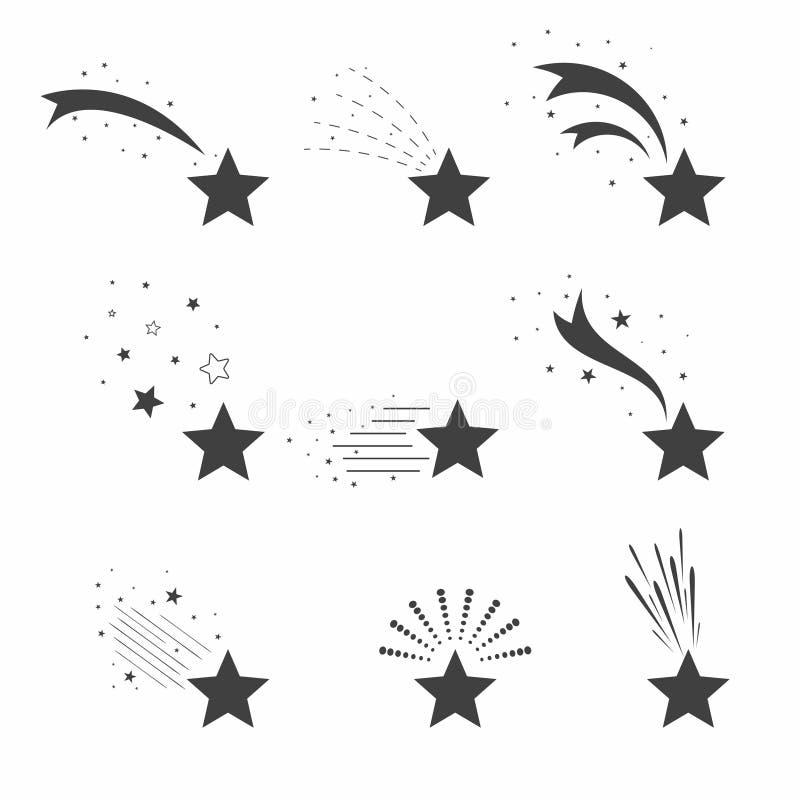 Tir, icônes d'étoiles filantes Icônes des météorites et des comètes Étoiles filantes avec différentes queues illustration de vecteur