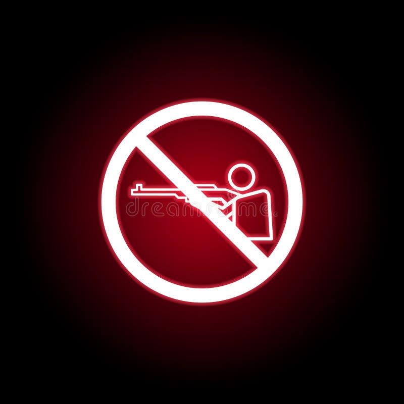 Tir interdit, icône d'homme dans le style au néon rouge Peut ?tre employ? pour le Web, logo, l'appli mobile, UI, UX illustration stock