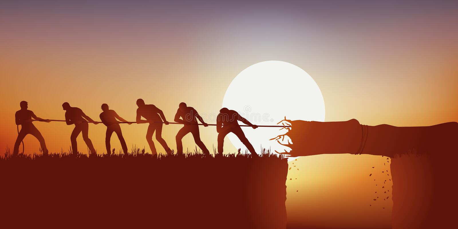 Symbol of teamwork with a group of men pulling a tree trunk with a rope to use as a bridge. royalty free illustration