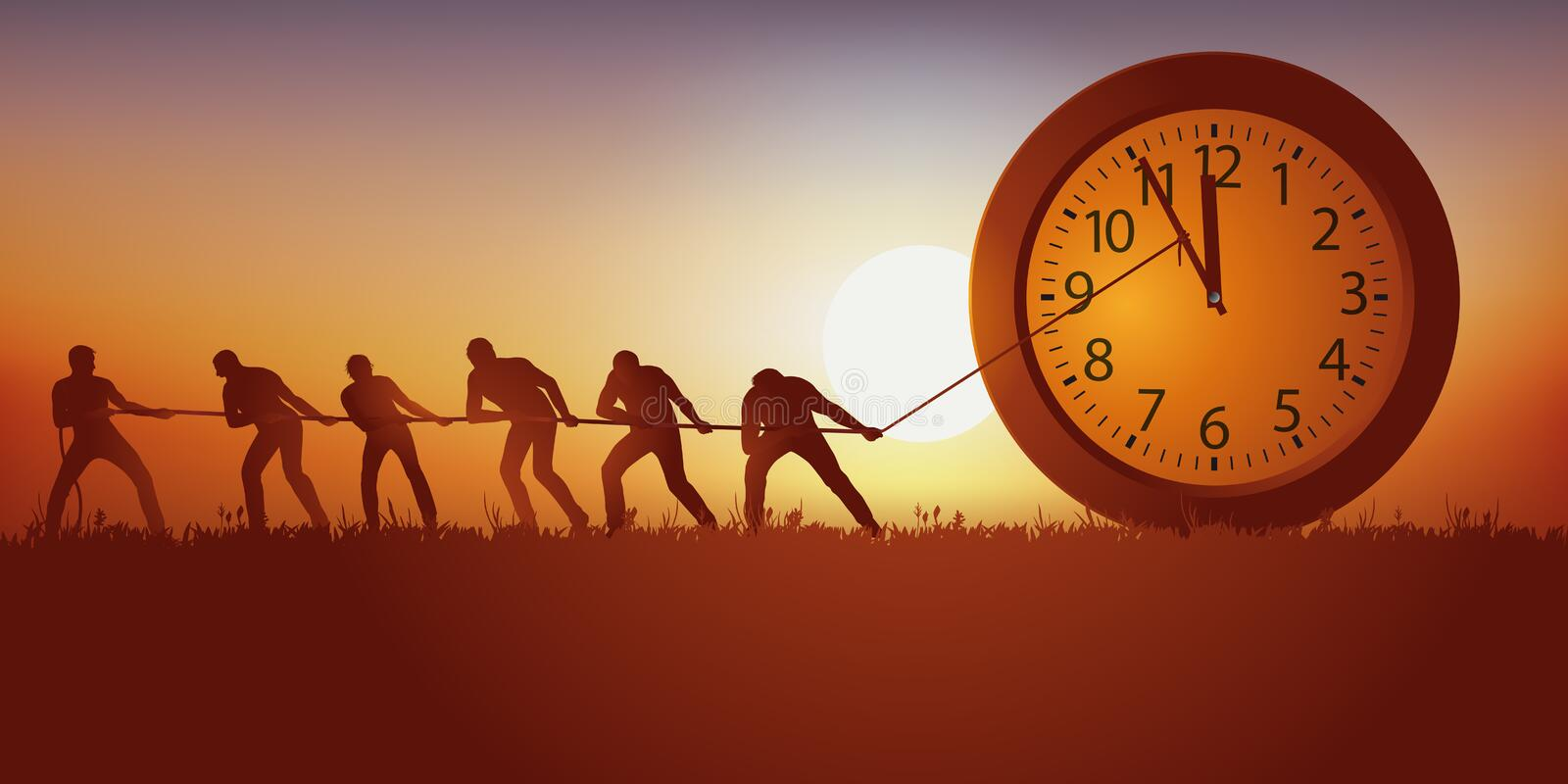 Concept of retaining the time that passes with men trying to block the hands of a clock with a rope. royalty free illustration