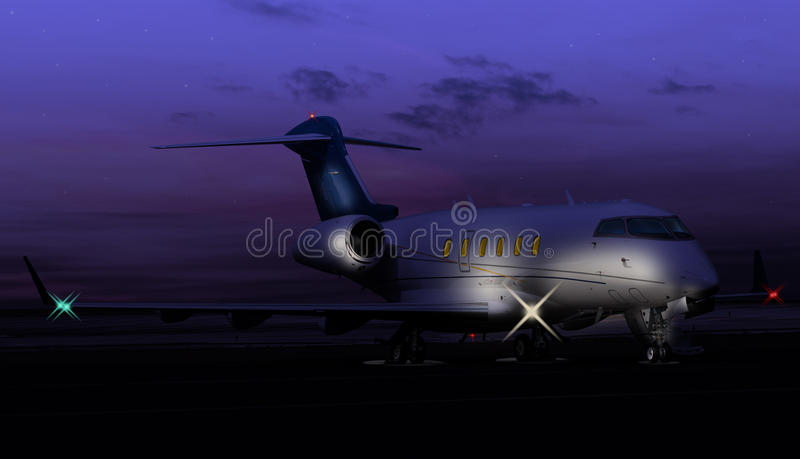 Tir nocturne d'un jet privé photographie stock