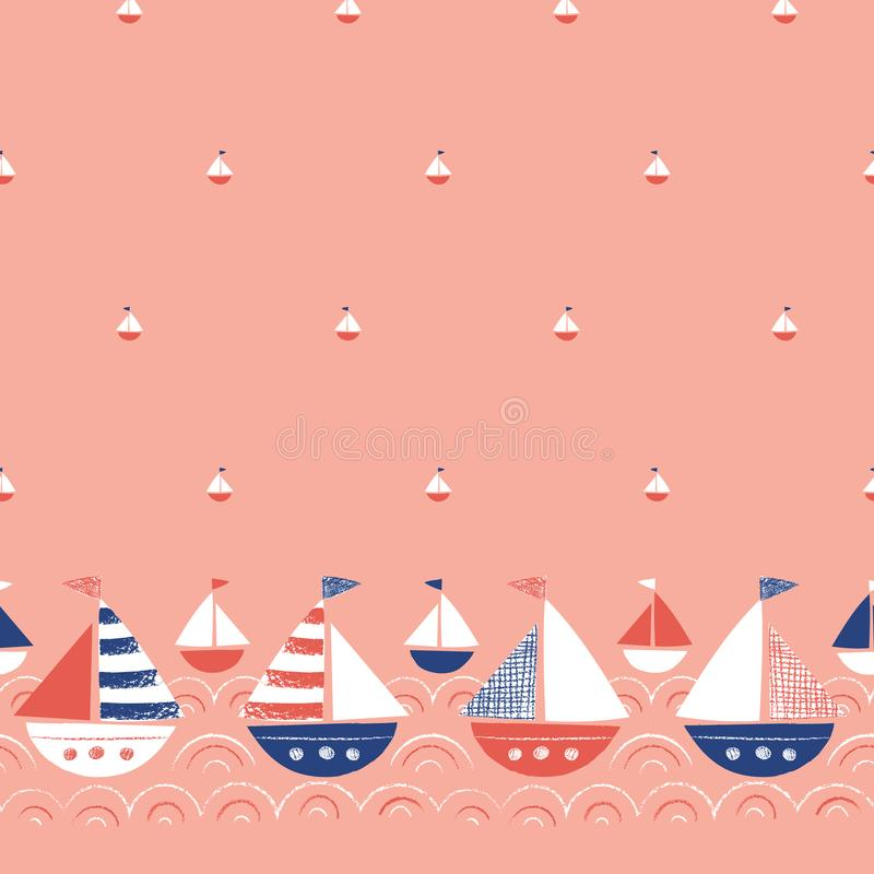 Tir? par la main lunatique avec des bateaux de crayons dans la fronti?re et le mod?le sans couture de vecteur de mer Marine Backg illustration stock